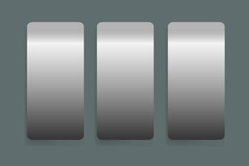 Three stainless steel vertical labels vector