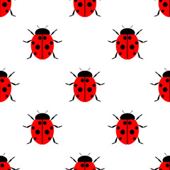 Seamless vector pattern with insects, symmetrical  laconic background with bright ladybugs, over white backdrop