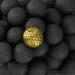 Golden golf ball with black ball