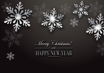 Elegant christmas background with silver snowflakes