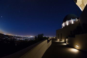 Night view of Griffith Observatory with cityscape