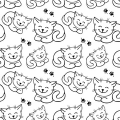 Seamless pattern with outline cats
