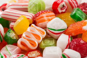 Assorted mix of colorful, hard, old time Christmas candy