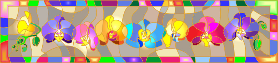 Horizontal background in the stained glass style with colorful orchids