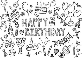 Happy Birthday doodle set with hand drawn elements
