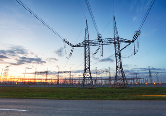 network at transformer station in sunrise, high voltage
