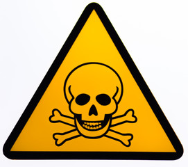 Skull and bones warning sign