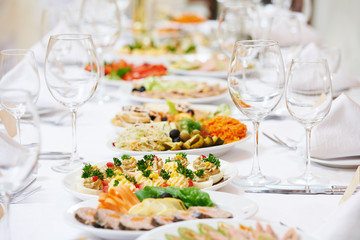 restaurant catering table with food