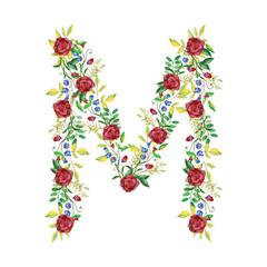 Watercolor Floral Monogram Letter