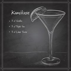 Kamikaze alcohol cocktail on black board