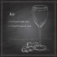 Kir alcohol cocktail on black board