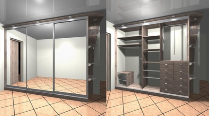 3D render interior design Cabinet with mirrored sliding doors