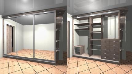 3D render interior design Cabinet with mirrored sliding doors