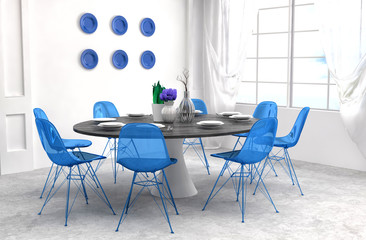 Kitchen in blue and white floor. 3d illustration