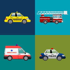 emergency transport set. Fire truck, ambulance, police,taxi car. Vector illustration.