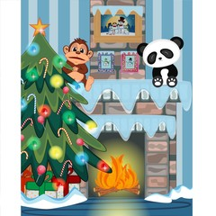 Christmas tree and fire place Vector Illustration
