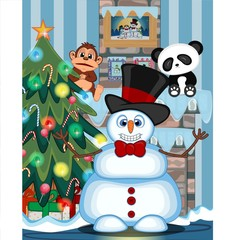 Snowman Wearing A Hat And Bow Ties with christmas tree and fire place Vector Illustration