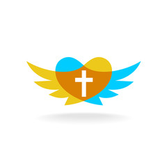 Religion logo with wings, heart silhouette and cross