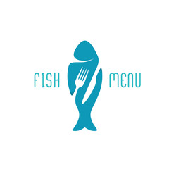 Fish food restaurant menu title logo. Silhouette of a fish with