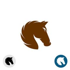 Horse head logo. Simple elegant one color silhouette.