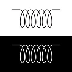 Induction spiral electrical symbol. Black linear coil element si