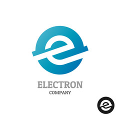 Letter E logo.Industrial tech style in a blue round sphere conce