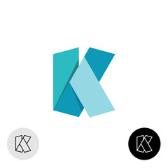 Letter K flat origami wide 3D ribbon style logo