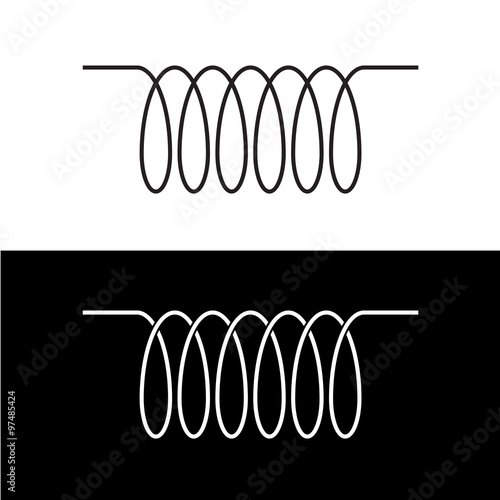 induction spiral electrical symbol black linear coil element si stock image and royalty free. Black Bedroom Furniture Sets. Home Design Ideas