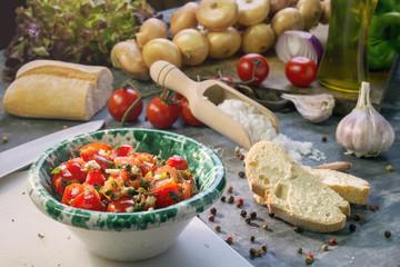 Fresh ingredients with tomato sauce for bruschetta