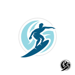 Surf logo with man silhouette, board and sea waves water twirl i