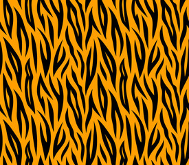 Tiger skin seamless repeated vector texture. Orange and black co