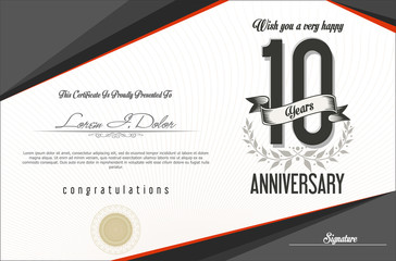 Anniversary retro vintage background 10 years
