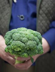 farmer holding fresh broccoli