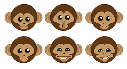set of heads of monkeys with different emotions