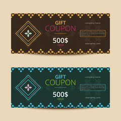 Gift voucher with elegant geometric design. Vector template for coupon or card.