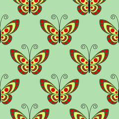 Seamless vector pattern with insects, symmetrical bright background with close-up butterflies, over green backdrop