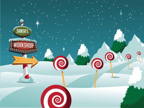 Santa's Workshop Christmas scene. EPS 10 vector illustration.