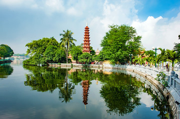 Tran Quoc pagoda in Ha Noi capital of Vietnam.