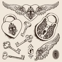 Keys and locks Vector illustration. Heart shaped padlock with wings in vintage engraved style with elegant keys. Romantic scrapbook set