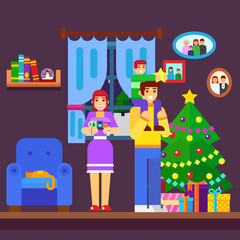 Illustration of Family Decorating a Christmas Tree