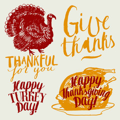 thanksgiving day label set. happy turkey day, thankful for you, give thanks.