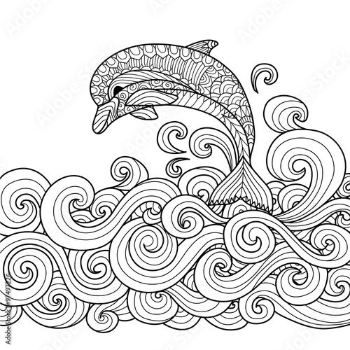 hand drawn zentangle dolphin with scrolling sea wave for coloring book for adult - Zentangle Coloring Book