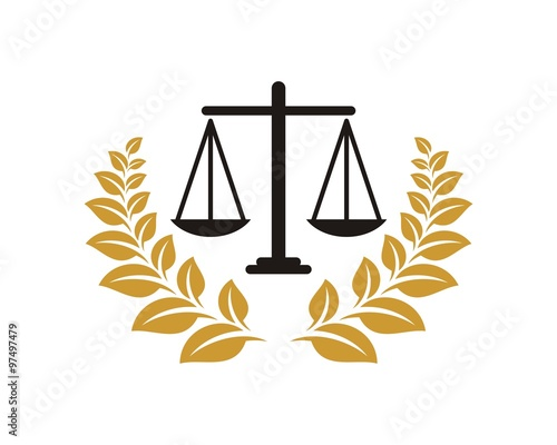 Wreath Scale Of Justice Logo Stock Image And Royalty Free Vector