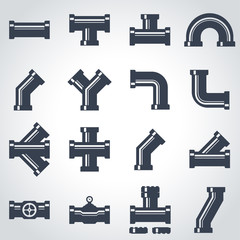 Vector black pipe fittings icon set. Pipe Fittings Icon Object, Pipe Fittings Icon Picture, Pipe Fittings Icon Image - stock vector