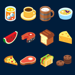 game icons set different food for higher health level