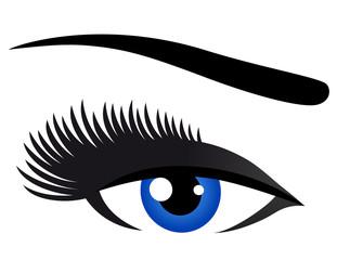 blue eye with long eyelashes
