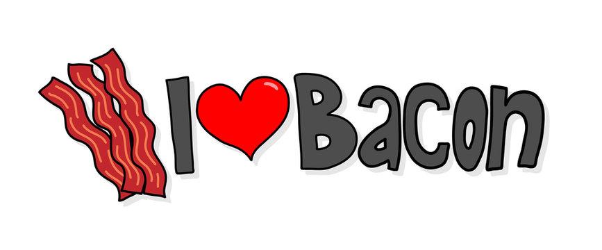 "I Love Bacon, a hand drawn vector illustration of ""I Love Bacon"" logo with simple shadow backdrops (editable)."
