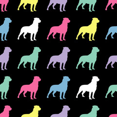 Seamless black and white decorative vector background with decorative dogs