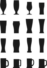 Set of different silhouettes beer glasses isolated on white background. Vector illustration