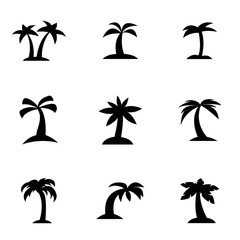 Vector black palm icon set. Palm Icon Object, Palm Icon Picture, Palm Icon Image - stock vector